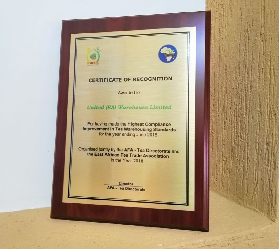 Certificate of Recognition by AFA